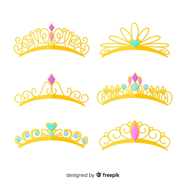 Pack diadème princesse dorée Vecteur gratuit