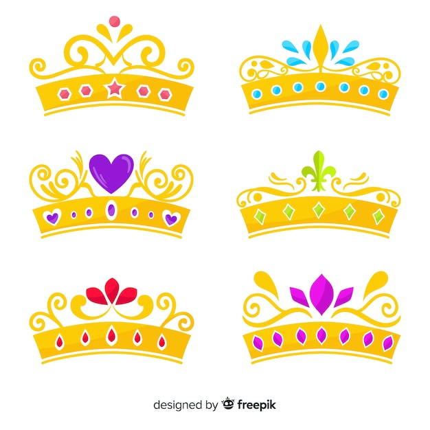 Pack diadème princesse plate Vecteur gratuit