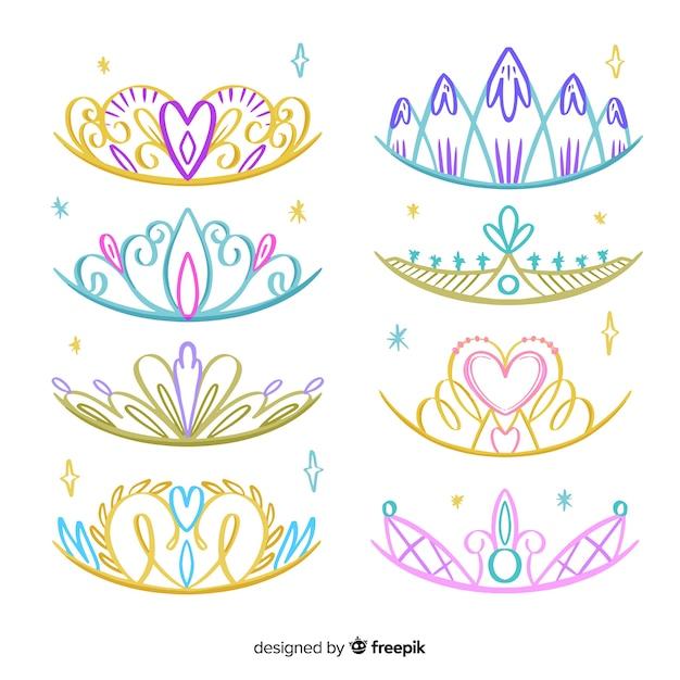 Pack de diadèmes de princesse dessinés à la main Vecteur gratuit