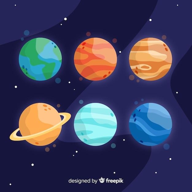 Pack De Différentes Planètes Dessinées à La Main Vecteur gratuit