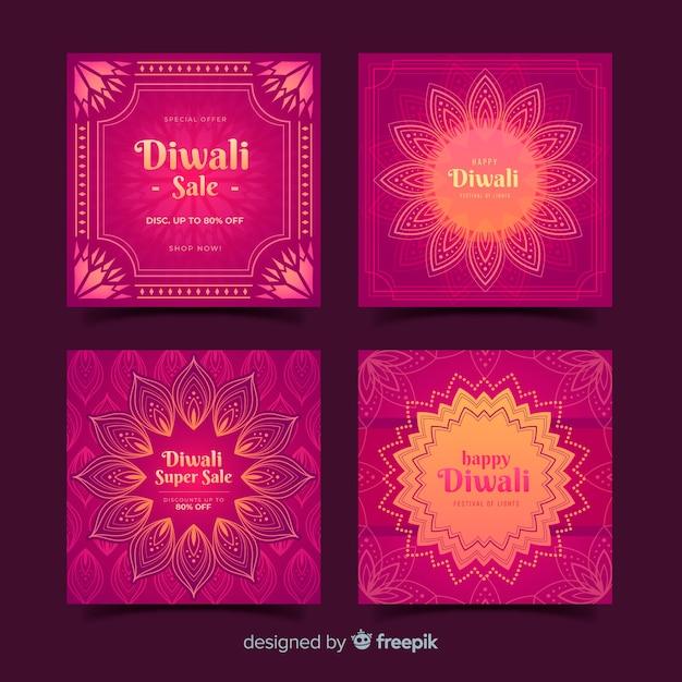 Pack de diwali festival post instagram Vecteur gratuit