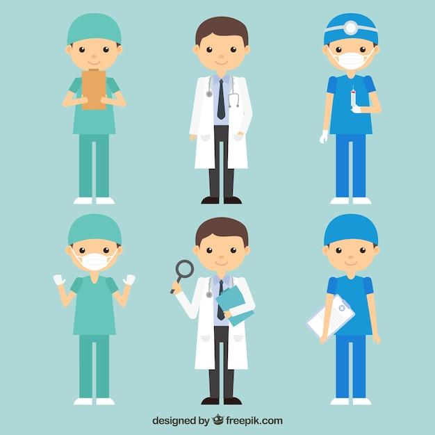 Pack de docteurs amusants et souriants Vecteur gratuit