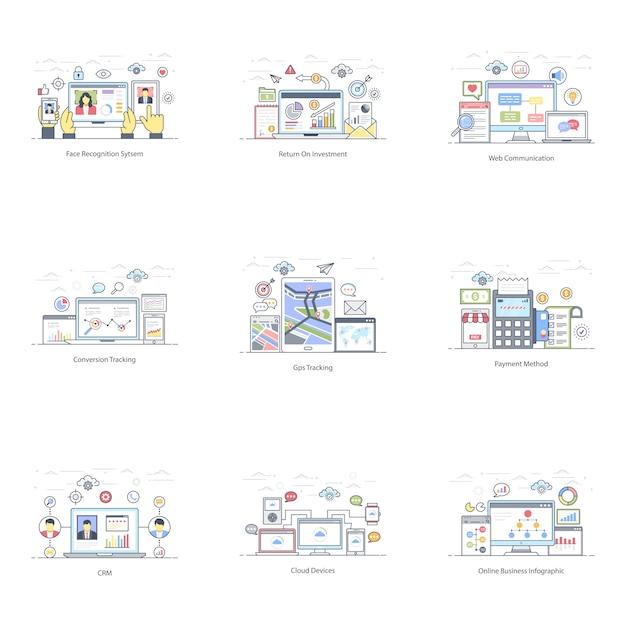 Pack de e business flat illustration Vecteur Premium