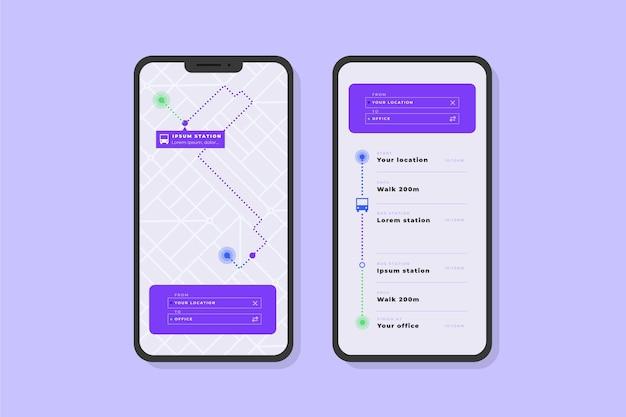 Pack D'écrans De Modèle D'application De Transport Public Vecteur gratuit