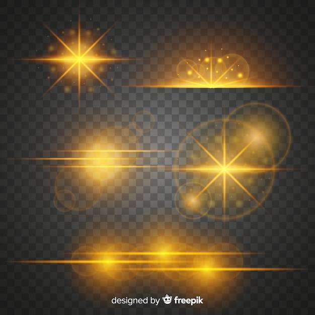 Pack effet lumière dorée Vecteur gratuit