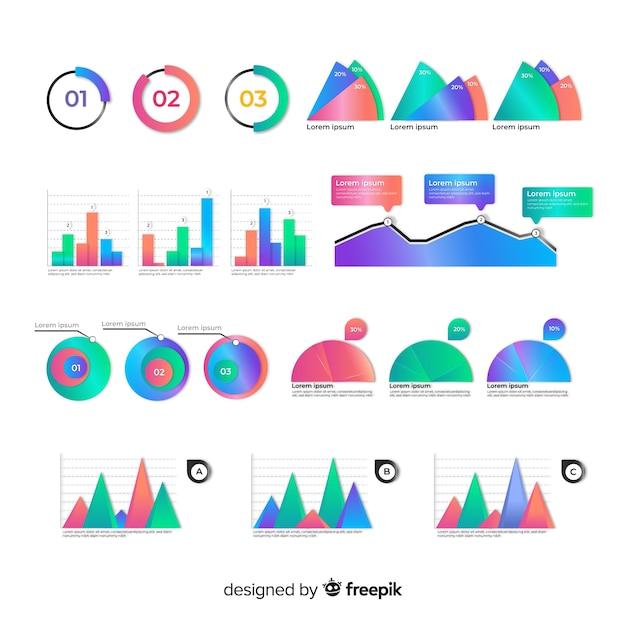 Pack d'éléments infographiques colorés Vecteur gratuit