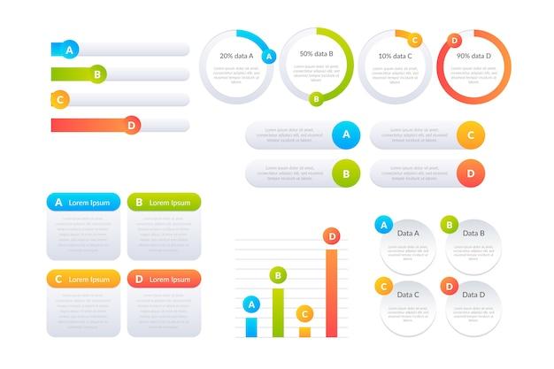 Pack d'éléments infographiques en dégradé Vecteur gratuit