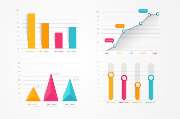 Pack D'éléments Infographiques Plats Vecteur Premium