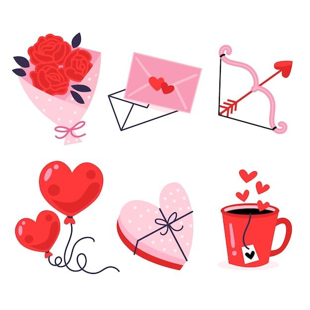 Pack D'éléments De La Saint-valentin Vecteur gratuit