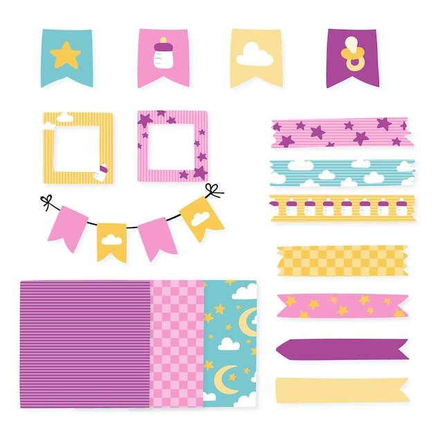 Pack D'éléments De Scrapbooking Baby Shower Vecteur gratuit