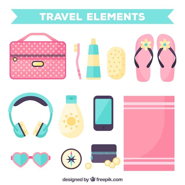 Pack d'éléments de voyage en conception plate Vecteur gratuit