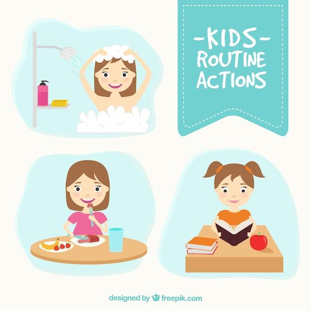 Pack enfants actions de routine Vecteur gratuit
