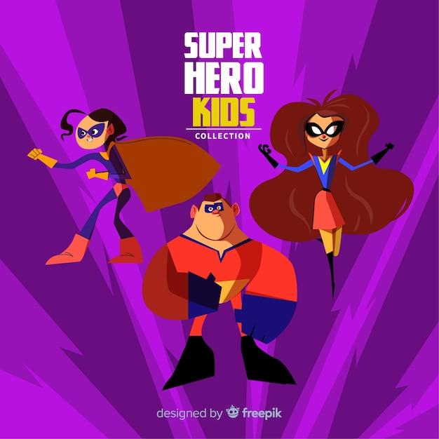 Pack enfants super héros Vecteur gratuit