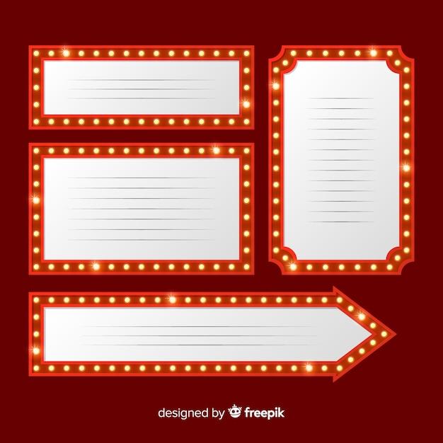 Pack d'enseignes de théâtre plat Vecteur gratuit