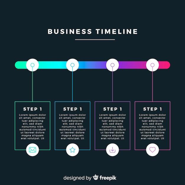 Pack d'étapes infographiques colorées Vecteur gratuit