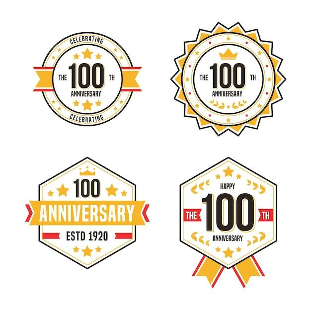 Pack D'étiquettes 100 Ans Vecteur Premium