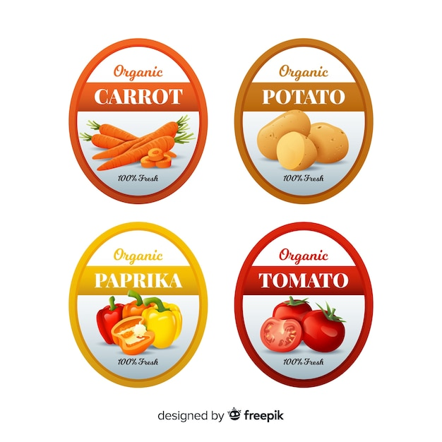 Pack D'étiquettes D'aliments Biologiques Réalistes Vecteur gratuit