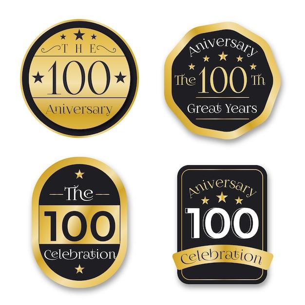 Pack D'étiquettes Anniversaire Cent Ans Vecteur Premium