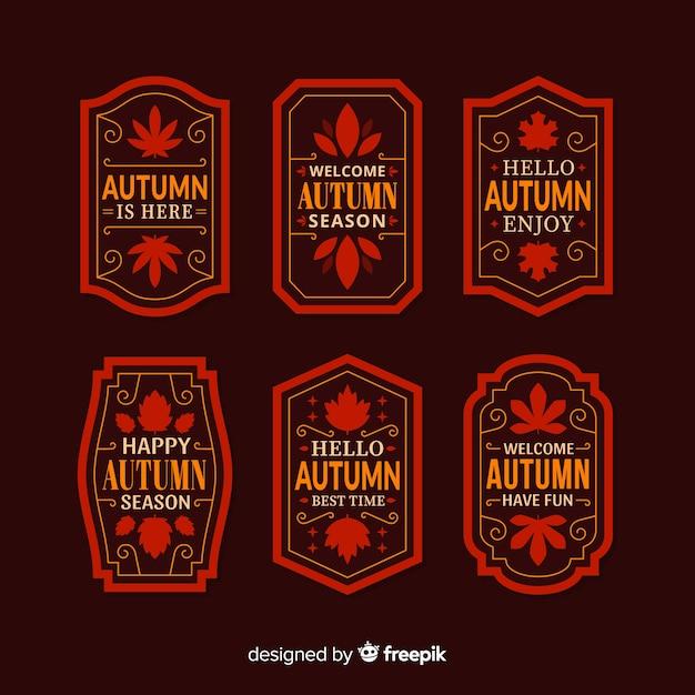 Pack d'étiquettes d'automne design plat Vecteur gratuit