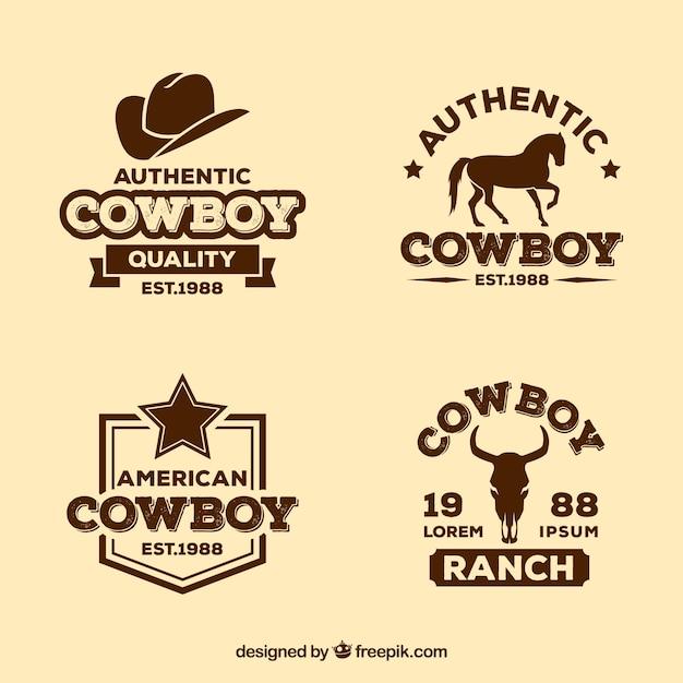 Pack D'étiquettes Cowboy Vecteur gratuit
