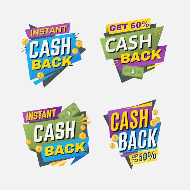 Pack D'étiquettes D'offre De Cashback Vecteur gratuit