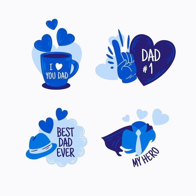 Pack D'étiquettes Pour La Fête Des Pères Vecteur Premium