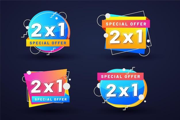 Pack D'étiquettes Promotionnelles Colorées Vecteur gratuit
