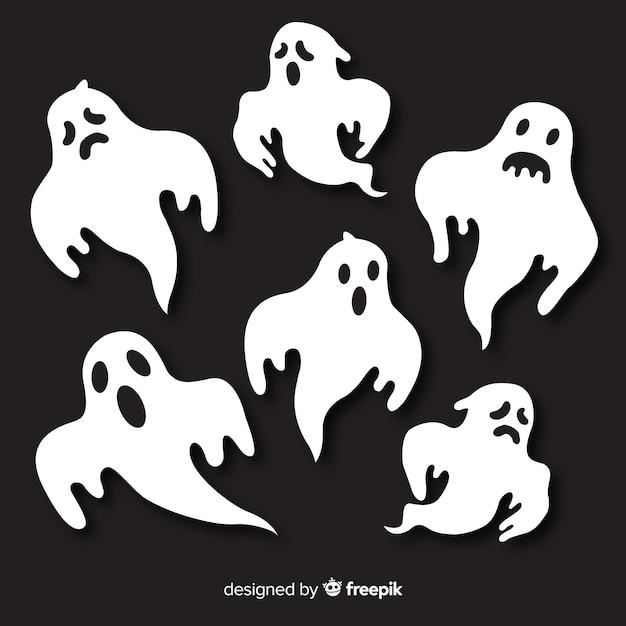 Pack de fantômes d'halloween Vecteur gratuit