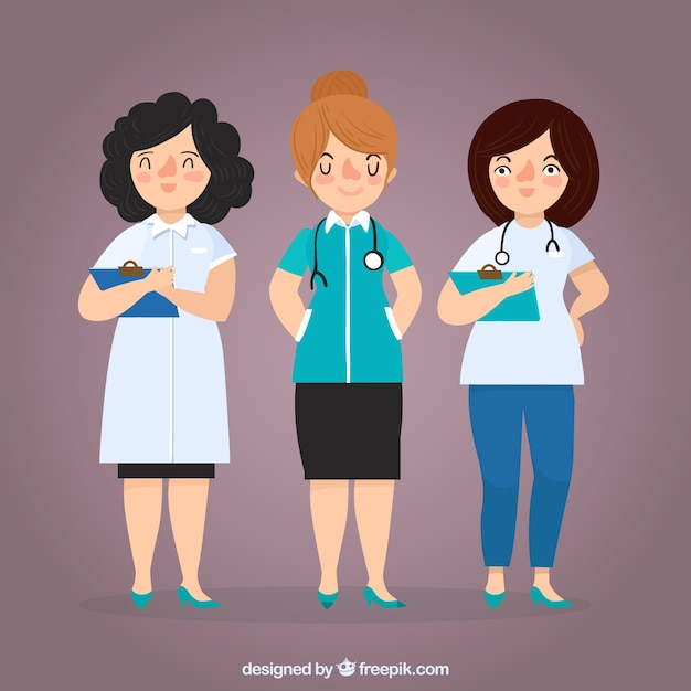 Pack de femmes médecins avec presse-papiers et stéthoscope Vecteur gratuit