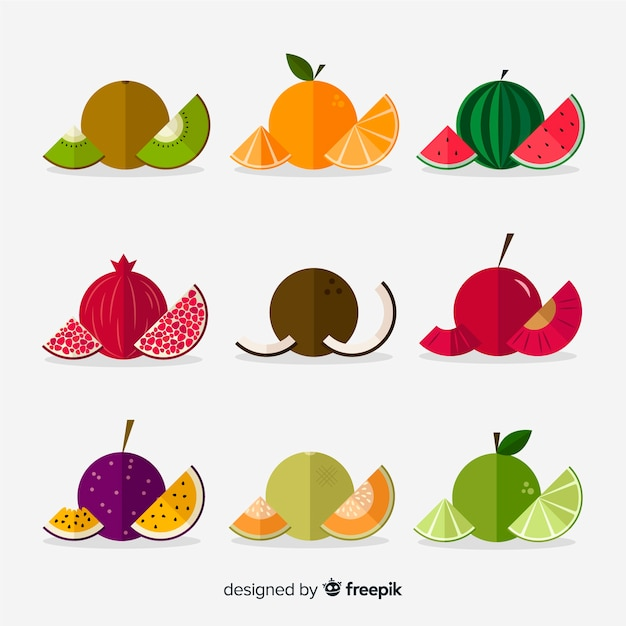 Pack de fruits cerclés Vecteur gratuit