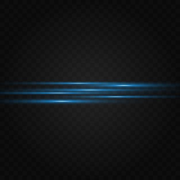 Pack De Fusées éclairantes Horizontales Bleues. Faisceaux Laser, Rayons Lumineux Horizontaux Vecteur Premium