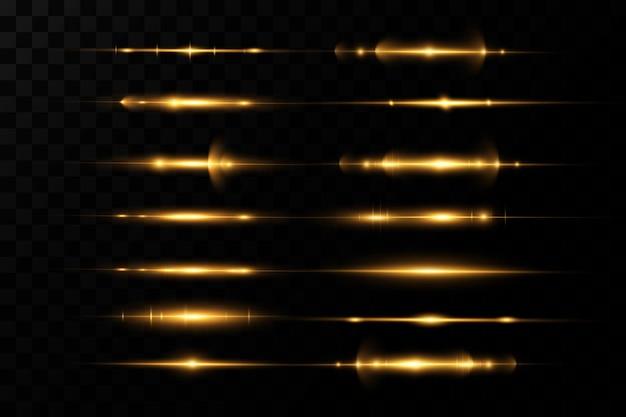 Pack De Fusées éclairantes Horizontales Dorées. Faisceaux Laser, Rayons Lumineux Horizontaux. Vecteur Premium