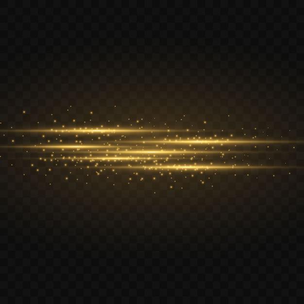 Pack De Fusées éclairantes Horizontales Jaunes. Faisceaux Laser, Rayons Lumineux Horizontaux. Belles Fusées Lumineuses. Rayures Rougeoyantes Sur L'obscurité. Résumé Lumineux étincelant Doublé. Vecteur Premium