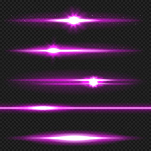 Pack de fusées éclairantes horizontales violettes. rayons laser, rayons lumineux horizontaux. Vecteur Premium