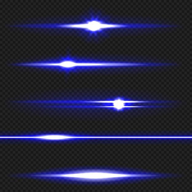 Pack de fusées horizontales bleues Vecteur Premium