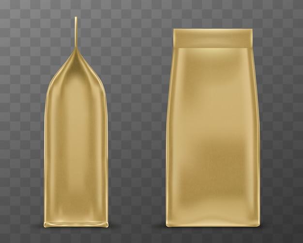 Pack Golden Doy, Pochette En Papier Ou Sac En Aluminium Vecteur gratuit