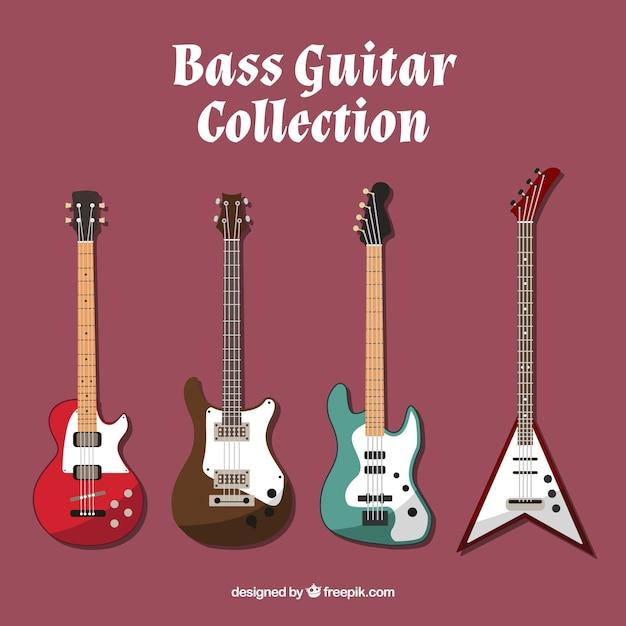 Pack De Guitare Basse En Conception Plate Vecteur gratuit