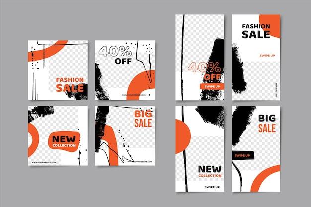 Pack D'histoires Abstraites Et Modèle De Messages Vecteur Premium