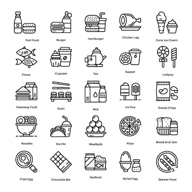 Pack d'icônes alimentaires Vecteur Premium