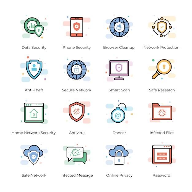 Pack d'icônes antivirus et de sécurité Vecteur Premium