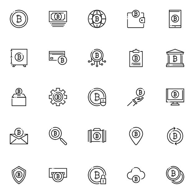 Pack D'icônes Bitcoin, Avec Style D'icône De Contour Vecteur Premium