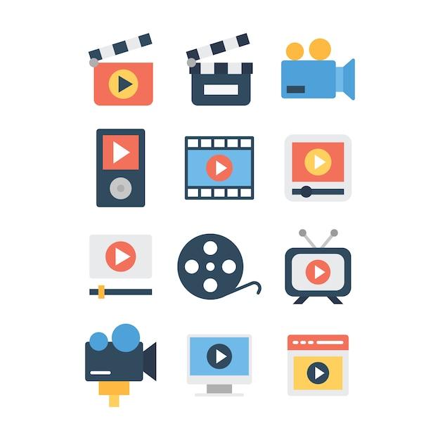 Pack D'icônes De Création Vidéo Vecteur Premium