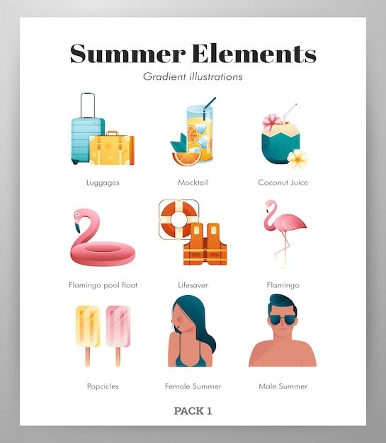Pack d'icônes d'éléments d'été Vecteur Premium