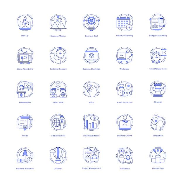 Pack d'icônes de gestion d'entreprise Vecteur Premium