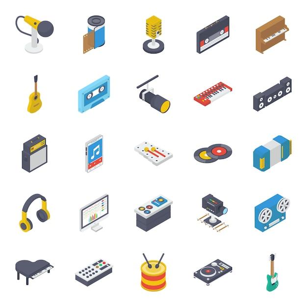 Pack D'icônes Isométriques Pour Appareil Multimédia Vecteur Premium