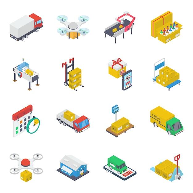 Pack D'icônes Isométriques De Transport Vecteur Premium