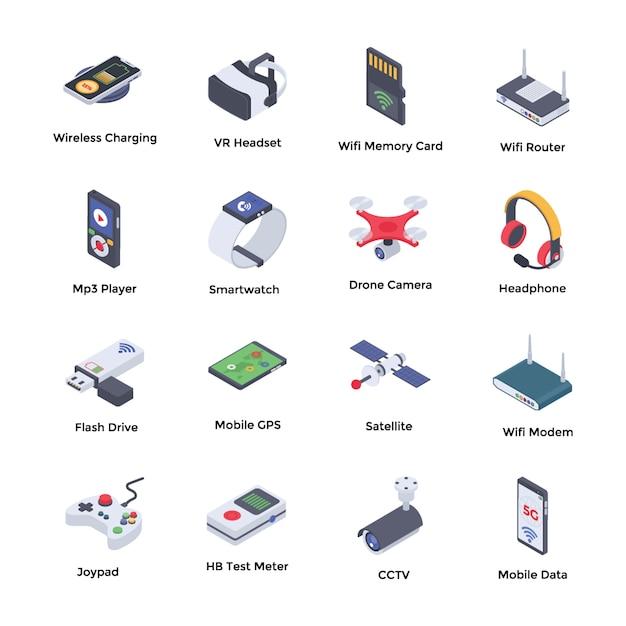 Pack D'icônes Isométriques Wireless Technologies Vecteur Premium