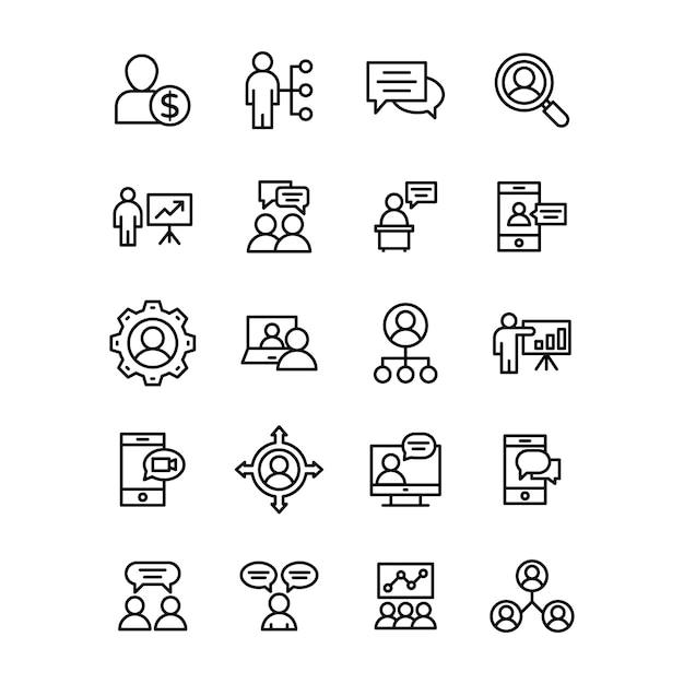 Pack D'icônes De Ligne D'affaires Et De Communication Vecteur Premium