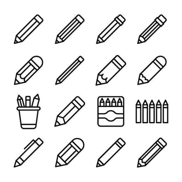 Pack D'icônes De Ligne De Crayons Pack Vecteur Premium