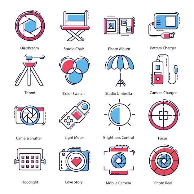 Pack d'icônes de matériel de photographie Vecteur Premium